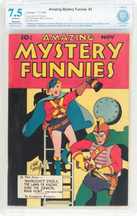 Amazing Mystery Funnies #3 (Centaur, 1938) CBCS Restored (Moderate/Extensive) VF- 7.5 Off-white pages