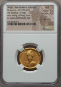 Ancients:Roman Imperial, Ancients: Honorius (AD 393-423). AV solidus (4.40 gm). NGC AU 4/5 -4/5, die shift...