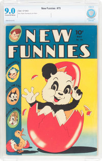 New Funnies #75 (Dell, 1943) CBCS VF/NM 9.0 Cream to off-white pages