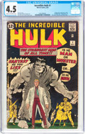 Silver Age (1956-1969):Superhero, The Incredible Hulk #1 (Marvel, 1962) CGC VG+ 4.5 Cream to off-white pages....