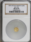 California Fractional Gold, 1874 25C Indian Octagonal 25 Cents, BG-795, R.3, MS64 ProoflikeNGC....