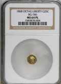 California Fractional Gold: , 1868 25C Liberty Octagonal 25 Cents, BG-746, High R.4, MS64Prooflike NGC. NGC Census: (1/0). (#71...