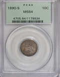 Seated Dimes, 1890-S 10C MS64 PCGS....