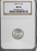 Seated Dimes, 1891-S 10C MS64 NGC....