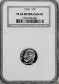 Proof Roosevelt Dimes: , 1962 10C PR68 Deep Cameo NGC. NGC Census: (106/31). PCGS Population(104/51). Numismedia Wsl. Price for NGC/PCGS coin in P...
