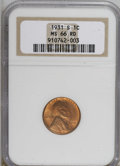 Lincoln Cents, 1931-S 1C MS66 Red NGC....