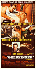 "Movie Posters:James Bond, Goldfinger (United Artists, 1964). Three Sheet (41"" X 79"").. ..."