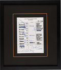 Baseball Collectibles:Others, 1995 Cal Ripken Jr. Signed Consecutive Game 2129 Baltimore Orioles Lineup Card....