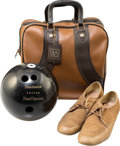 Movie/TV Memorabilia:Instruments , An Ernest Borgnine Bowling Ball, Case, and Shoes, Circa 1960s....