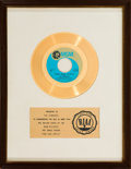 "Music Memorabilia:Awards, Osmonds ""One Bad Apple"" RIAA White Mat Gold Record Sales Award (MGMRecords K14193, 1970). ..."