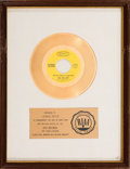 "Music Memorabilia:Awards, Hollies ""Long Cool Woman (In A Black Dress)"" RIAA White Mat GoldRecord Sales Award (Epic 5-10871, 1972). ..."
