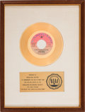 "Music Memorabilia:Awards, Joan Baez ""The Night They Drove Old Dixie Down"" RIAA White Mat GoldRecord Sales Award (Vanguard VRS-35138, 1971). ..."