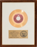 "Music Memorabilia:Awards, Gladys Knight and The Pips ""Midnight Train To Georgia"" RIAA WhiteMat Gold Record Sales Award (Buddah Records BDA 383, 197..."