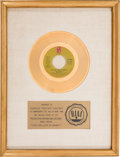 "Music Memorabilia:Awards, O'Jays ""For The Love Of Money"" RIAA White Mat Gold Record SalesAward (Philadelphia International Records ZS7 3544, 1973)...."