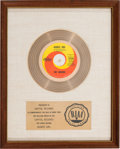 "Music Memorabilia:Awards, Seekers ""Georgy Girl"" RIAA White Mat Gold Record Sales Award(Capitol Records 5756, 1966). ..."