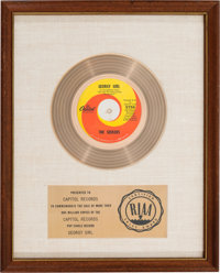 """Seekers """"Georgy Girl"""" RIAA White Mat Gold Record Sales Award (Capitol Records 5756, 1966)"""