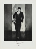 Movie/TV Memorabilia:Autographs and Signed Items, A Charlie Chaplin Signed Black and White Image, Circa 1950s....(Total: 2 )