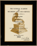 Music Memorabilia:Awards, Chaka Khan - Two Grammy Nomination Certificate For 'Ain't Nobody'And Chaka Khan (1983). ... (Total: 2 Items)