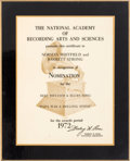 """Music Memorabilia:Awards, Temptations - Grammy Nomination Certificate For """"Papa Was A RollingStone"""" (1972)...."""