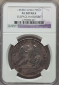 Chile, Chile: Republic Peso 1853 AU Details (Surface Hairlines) NGC,...