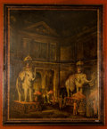 "Paintings, Elephants at the Palace. Oil and Mixed Media on Canvas. 20th Century; signed ""Eric Reed"" lower left, in red and gilt fra..."
