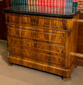 Furniture : French, A Louis Philippe Rosewood and Black Marble Four-Drawer Commode,circa 1850. 39 h x 44 w x 18-1/2 d inches (99.1 x 111.8 x 47...