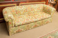 Furniture , A Printed Linen Upholstered Sofa, 20th century. 28 h x 80 w x 43 d inches (71.1 x 203.2 x 109.2 cm). ...
