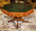 Furniture , A Regency-Style Mahogany Octagonal Rent Table with Inset Leather Top, 19th century. 29-1/2 h x 44-1/2 w x 44-1/2 d inches (7...