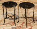 Furniture , A Pair of Black Marble and Patinated Brass Side Tables, 20th century. 17-1/4 h x 13 di inches (43.8 x 33.0 cm). ... (Total: 2 Items)