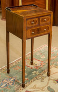 Furniture , A Hepplewhite-Style Mahogany and Inlaid Telephone Table, early 20th century. 31-1/4 h x 15 w x 14-1/4 d inches (79.4 x 38.1 ...