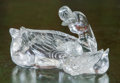 Asian, A Mongolian Carved Rock Crystal Figural Group of Duck and Duckling.3 h x 6-1/2 w x 5 d inches (7.6 x 16.5 x 12.7 cm). ...