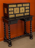 Furniture : Continental, A Spanish Baroque-Style Vargueno Cabinet, late 19th-early 20th century. 47-7/8 h x 36-1/4 w x 17-1/4 d inches (121.6 x 92.1 ...