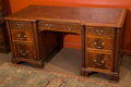 Furniture : English, A Chippendale-Style Carved Mahogany Pedestal Desk, late 19th century. 30 h x 60 w x 29 d inches (76.2 x 152.4 x 73.7 cm). ...