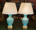 Paintings, A Pair of Chinese Enameled Porcelain Vases Mounted as Lamps. 22-1/4 inches high (56.5 cm). ... (Total: 2 Items)