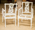 Furniture , Five Faux Bois Cast Resin Garden Chairs after an Aesthetic Design, early 21st century . 37 h x 23 w x 25 d inches (94.0 x 58... (Total: 5 Items)
