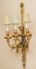 Decorative Arts, French:Lamps & Lighting, A Pair of Louis XVI-Style Gilt Metal Three-Light Wall Sconces, late19th century. 31 h x 16 w x 7-1/2 d inches (78.7 x 40.6 ... (Total:2 Items)