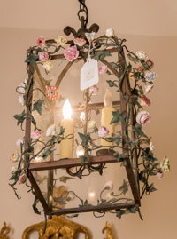 A Continental Wrought-Iron and Painted Porcelain Lantern and a Pair of Two-Light Sconces, 20th century 18 inches h