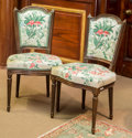 Furniture : French, A Pair of Louis XVI-Style Upholstered Walnut Side Chairs, mid-20thcentury. 35 h x 19 w x 18 d inches (88.9 x 48.3 x 45.7 cm...(Total: 2 Items)
