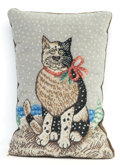 Other, An Embroidered Winter Scene Cat Pillow, 20th century. 10 incheshigh x 6-1/2 inches wide (25.4 x 16.5 cm). ...