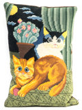Other, A Needlepoint-Style Pillow with Cat Duo, 20th century. 13 incheshigh x 8-1/2 inches wide (33.0 x 21.6 cm). ...