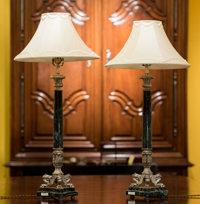 A Pair of Empire-Style Silvered Metal and Marble Lamps, 20th century 33 inches high (83.8 cm) (including hardware)