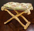 Furniture , A Continental Giltwood Curule Stool with Damask Silk Cushion, 20th century. 23 h x 28 w x 16-1/8 d inches (58.4 x 71.1 x 41....