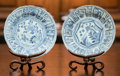 Asian:Japanese, A Pair of Hatcher Cargo Chinese Ming Dynasty Porcelain Plates onStands, circa 1643. 8 inches diameter (20.3 cm) (plate). ...(Total: 2 Items)