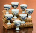 Asian:Chinese, A Group of Eight Chinese Blue and White Porcelain Egg Cups from theHatcher Cargo, circa 1640. 2 inches high (5.1 cm) (talle... (Total:8 Items)