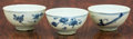 Asian:Chinese, Three Chinese Blue and White Porcelain Tea Bowls. 2-1/4 inches highx 4-1/2 inches diameter (5.7 x 11.4 cm). ... (Total: 3 Items)