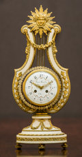 , A Louis XVI-Style Alabaster, Paste Diamond, and Gilt Bronze-Mounted Lyre Clock retailed by Bigelow, Kennard & Co., late 19th...