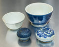 Asian:Chinese, A Group of Four Chinese Blue and White Porcelain Items from theHatcher Cargo, circa 1640. 1-3/4 inches high x 3-1/4 inche...(Total: 4 Items)