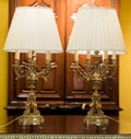 Decorative Arts, French:Lamps & Lighting, A Pair of Louis XVI-Style Gilt Bronze Seven-Light Candelabra Mounted as Lamps, late 19th century. 36 inches high (91.4 cm). ... (Total: 2 Items)
