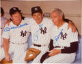 Baseball Collectibles:Photos, 1980's Mickey Mantle, Billy Martin and Joe DiMaggio Multi-SignedOversized Photograph from The Gary Carter Collection....