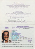 Movie/TV Memorabilia:Documents, A Sammy Davis, Jr. Signed Last Passport, 1988....